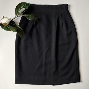 Vintage Ann Taylor Black Pencil Skirt Classic Wool